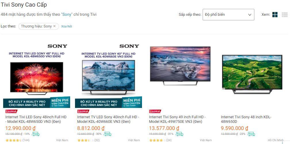 Tivi Sony Lazada được khách hàng rất ưa chuộng