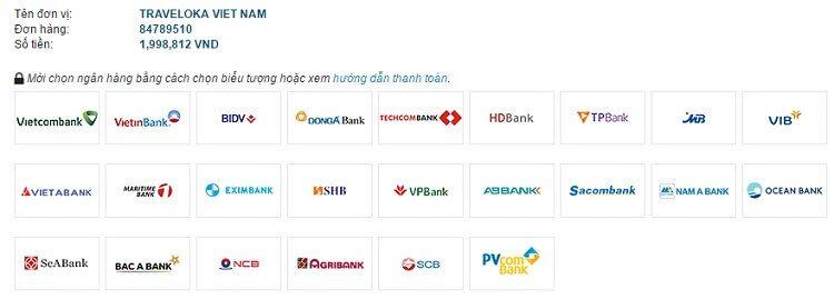 Thanh toán qua ATM/Internet Banking ở Traveloka